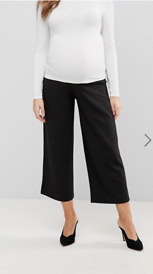 ASOS Maternity Black Under The Bump Culottes Cropped Pants Size 8