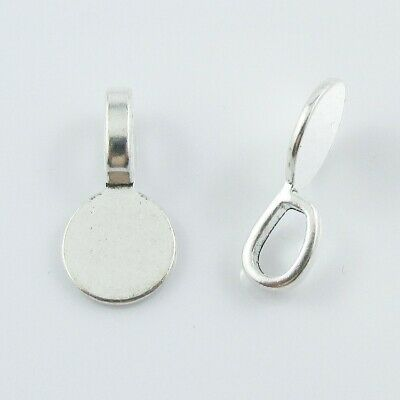 20pk Pendant Bail Findings with Flat 10mm Round Glue Pad Silver Tone 18x10x5.5mm