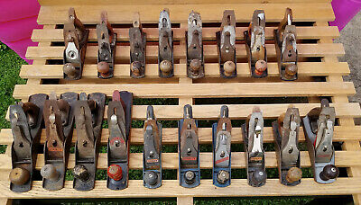 Vintage Hand Wood Planes Stanley Bailey / Defiance / Fulton / Pexto ++ Lot of 18