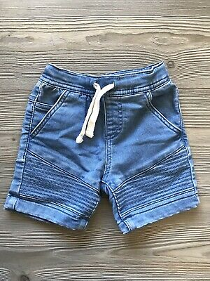Boys size 2, blue soft denim Look Cotton shorts, Draw String , New Condition