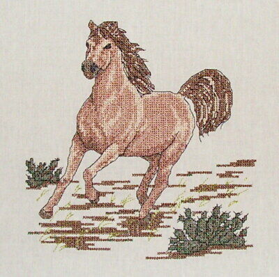 "Completed Cross Stitch ""Running Horse"" Cross Stitch Size 19Cmx19Cm"