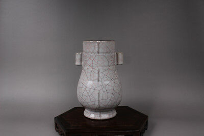 Chinese Ancient Guan Kiln white Porcelain Double ear vase