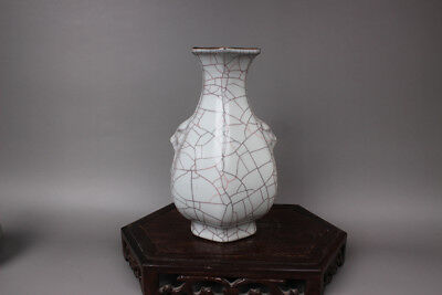 Chinese Ancient Song Dy Guan Kiln white Porcelain Six corners vase