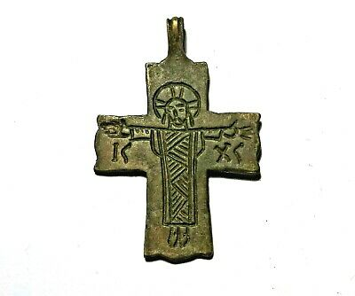 Ancient Byzantine Bronze Cross Depicting Jesus Christ Excellent Condition