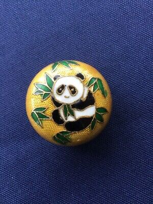 *Vintage Chinese Yellow/ Gold Cloisonne Enamel Panda Trinket Box/ Ornament.