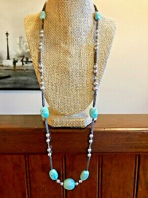 "32"" Vintage Sterling Silver Robins Egg Spotted Blue Glass Bead Necklace"