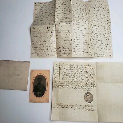 Rare Civil War Officer Tintype Photo & Letters About Lincoln Douglas Election