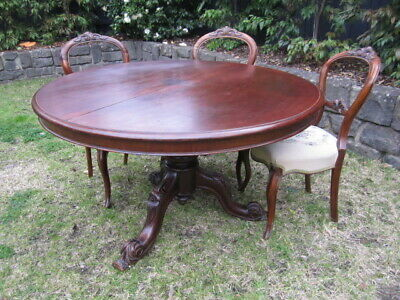 Round table and 6 chairs ornate carved  original circa 1860