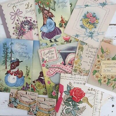 COLLECTABLE Vintage Unused GREETING CARDS 60's Print