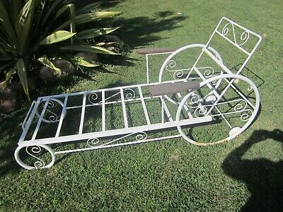Vintage Retro Wrought Iron Sun Lounge