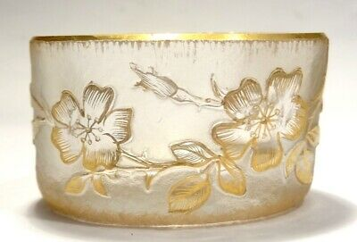Vase En Verre Emaille - Decor Floral - Signe Daum Nancy - Art Nouveau 1900
