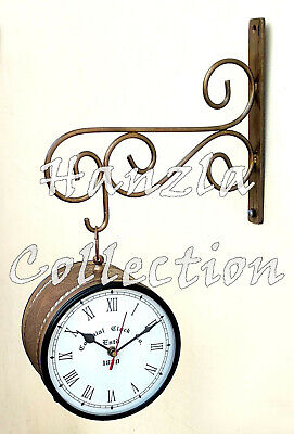 Victoria Station Antique Railway Brass Clock Nautical Double Sided Wall Clock