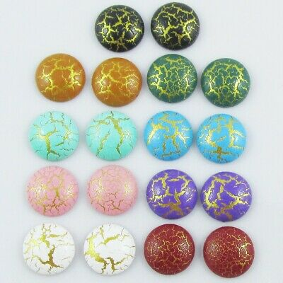 Resin Metallic Crackle Cabochon 10mm Select 10 or 20 pieces in random pairs