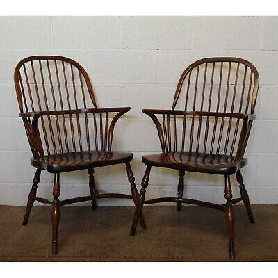 A Pair of Quality Ash Spindle Back Kitchen Windsor Armchairs Crinoline Stretcher