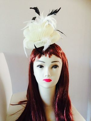 Wedding Races Melbourne Cup Feather Fascinator Hat Headband Cream Black Gray