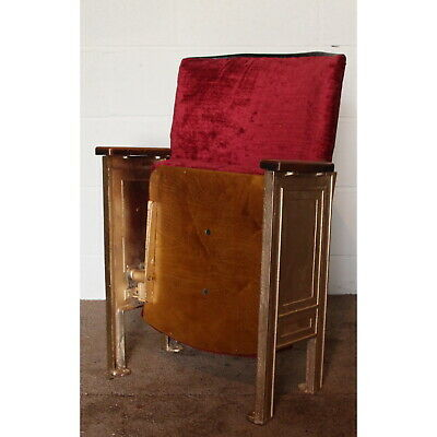 A Single Vintage Retro C1930s Cinema Theatre Seat or Chair Red Velvet Upholstery