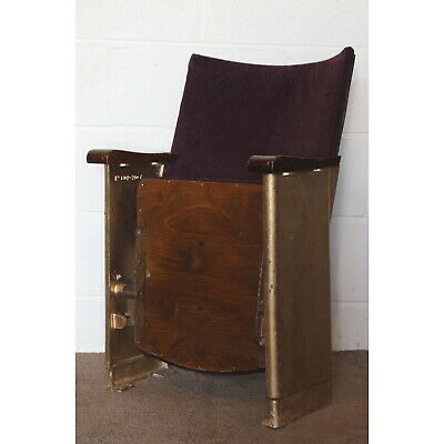 A Single Vintage Retro C1930s Cinema Theatre Seat or Chair Purple Velvet