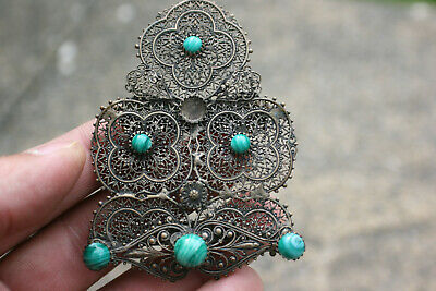 Vintage/Old Bronze Metal Women Belt Buckle with Green Blue Gemstone