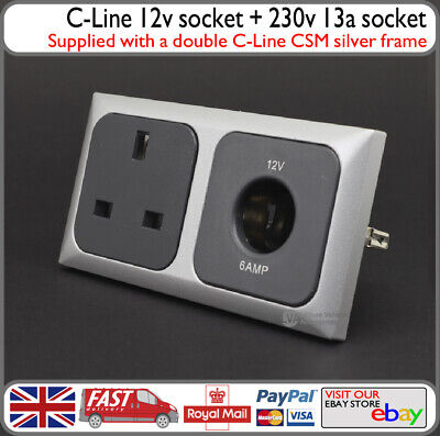 Silver C-Line CBE 12v Round Cigarette Type Socket w/ 230v 13a 3 Pin - Motorhome