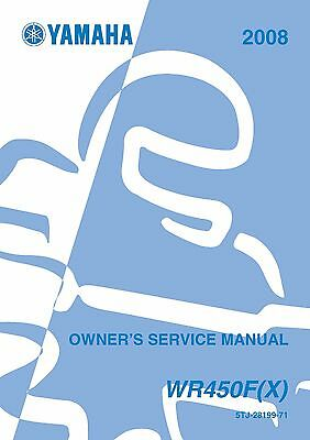Yamaha owners service workshop manual 2008 WR450F(X)