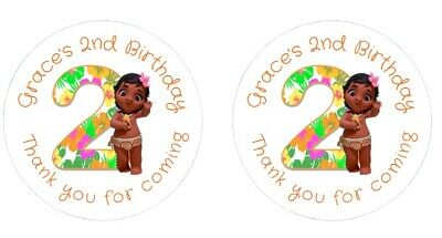 Personalised Round Baby Moana 2nd Birthday Party Stickers Sweet Cones Bags