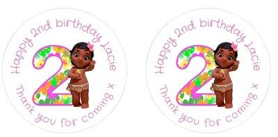 Personalised Round Pink Baby Moana 2nd Birthday Party Stickers Sweet Cones Bags