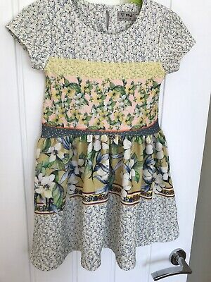 NEXT Summer Girls Textured Dress Age 2-3 Floral Yellow Floral Ditsy