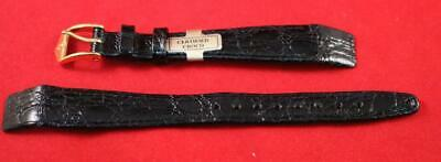 Genuine Quality Hirsch Certified Croco Leather Watch Strap & Gold Buckle - 13mm