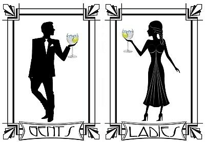 GENTS AND LADIES TOILET SIGNs Aluminium self adhiesive plaques WC Art Deco Decal