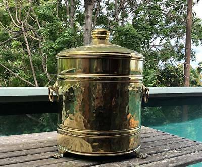 NESTOR Lidded BRASS Coal Bucket Lion Feet  made in England 1920s/1930s