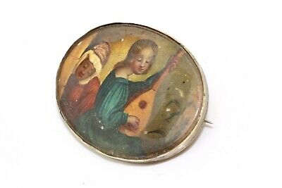 A Nice Antique Victorian Gold Plated Mother of Pearl Painted Brooch #13393