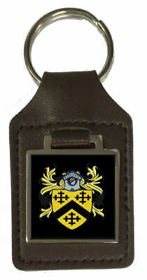 Jago Family Crest Surname Coat Of Arms Brown Leather Keyring Engraved