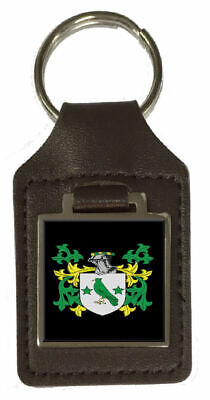 Mortlock Family Crest Surname Coat Of Arms Brown Leather Keyring Engraved