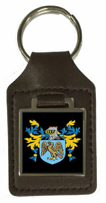 Staples Family Crest Surname Coat Of Arms Brown Leather Keyring Engraved