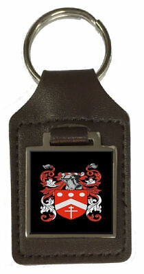Norres Family Crest Surname Coat Of Arms Brown Leather Keyring Engraved