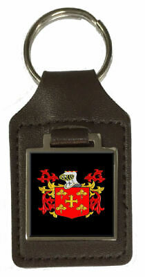 Manning Heraldry Surname Coat Of Arms Brown Leather Keyring Engraved