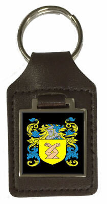 Weare Family Crest Surname Coat Of Arms Brown Leather Keyring Engraved