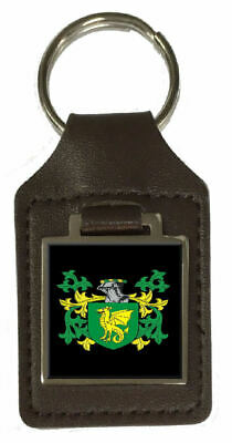 Finch Family Crest Surname Coat Of Arms Brown Leather Keyring Engraved