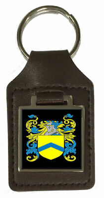 Massey Family Crest Surname Coat Of Arms Brown Leather Keyring Engraved