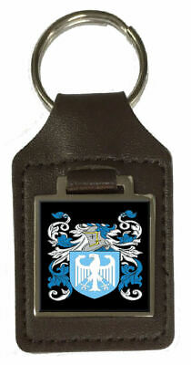 Broomfield Family Crest Surname Coat Of Arms Brown Leather Keyring Engraved