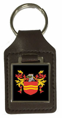 Woodbury Family Crest Surname Coat Of Arms Brown Leather Keyring Engraved