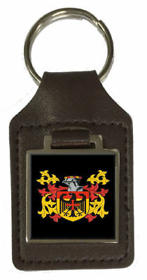 Highlan Family Crest Surname Coat Of Arms Brown Leather Keyring Engraved