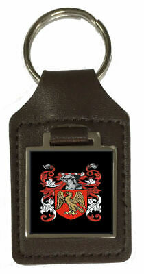 Scruggs Family Crest Surname Coat Of Arms Brown Leather Keyring Engraved