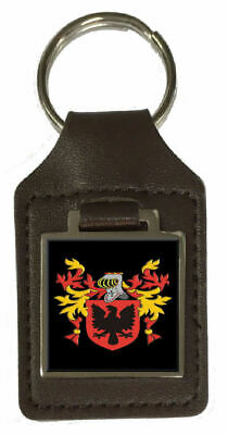 Tenacre Family Crest Surname Coat Of Arms Brown Leather Keyring Engraved