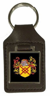 Handley Family Crest Surname Coat Of Arms Brown Leather Keyring Engraved