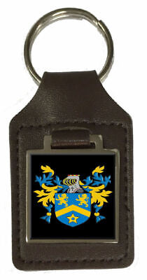 Tidley Family Crest Surname Coat Of Arms Brown Leather Keyring Engraved