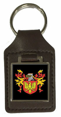 Criswell Family Crest Surname Coat Of Arms Brown Leather Keyring Engraved