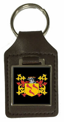 Casselberry Family Crest Surname Coat Of Arms Brown Leather Keyring Engraved