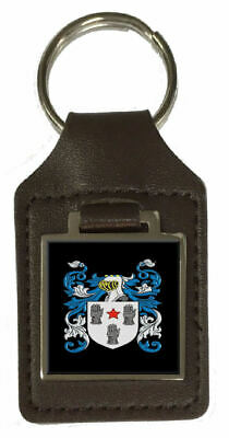 Simes Heraldry Surname Coat Of Arms Brown Leather Keyring Engraved