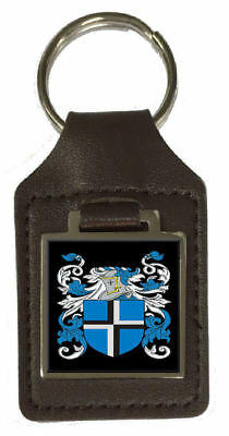 Vale Heraldry Surname Coat Of Arms Brown Leather Keyring Engraved